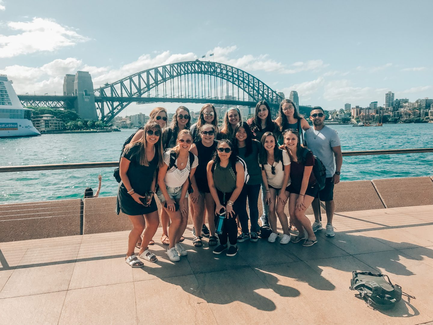 My study abroad friends and I posing in Circular Quay in front of the Sydney Harbor Bridge.