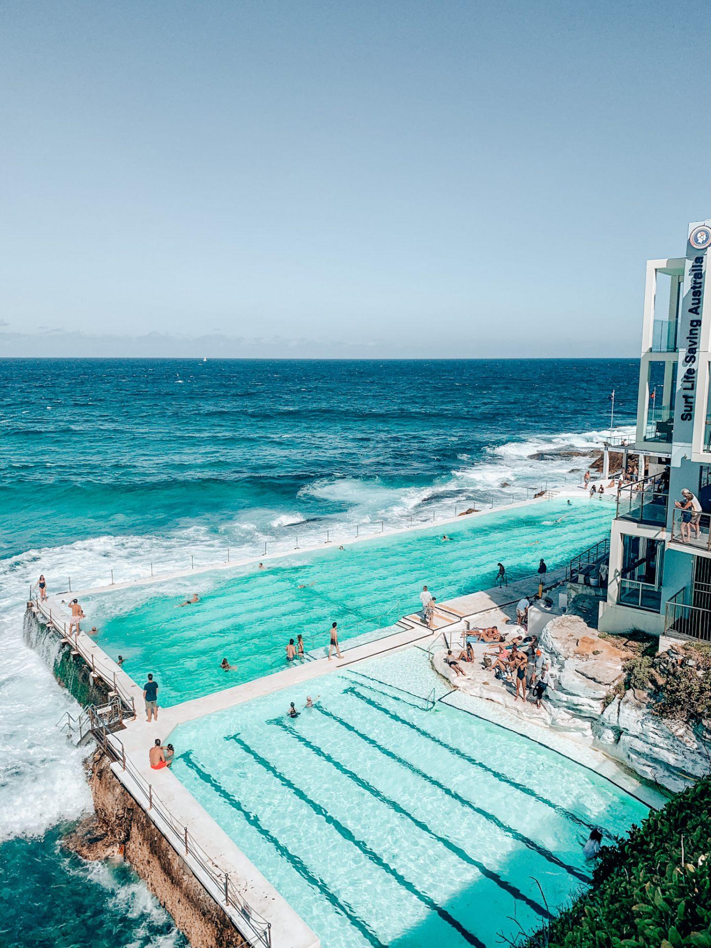 Photo of the blue Bondi iceberg pools with ocean in background in Sydney, Australia