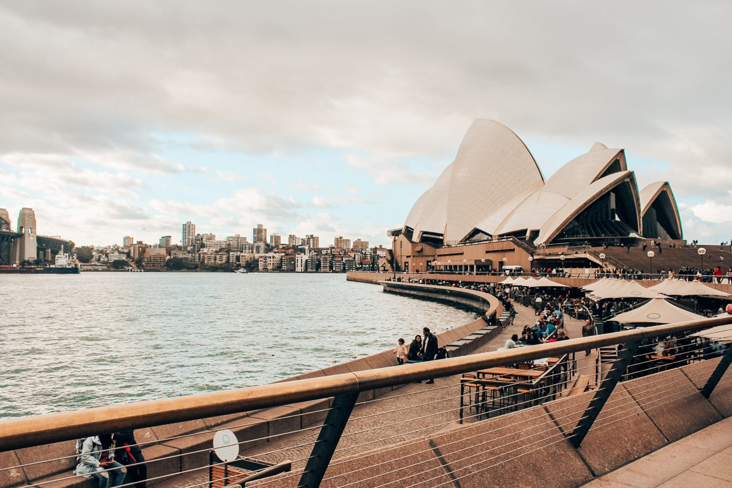The Sydney Opera House and harbor on a quiet afternoon