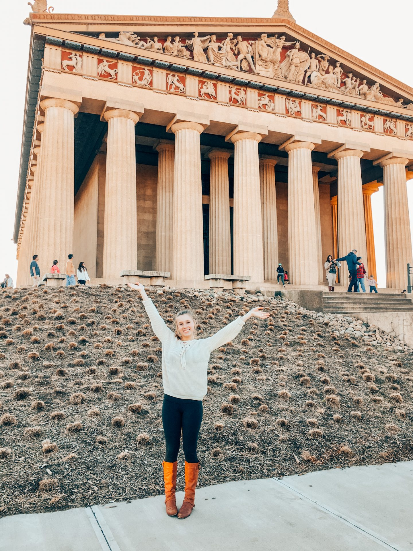 Posing in front of the Parthenon in Centennial Park in Nashville