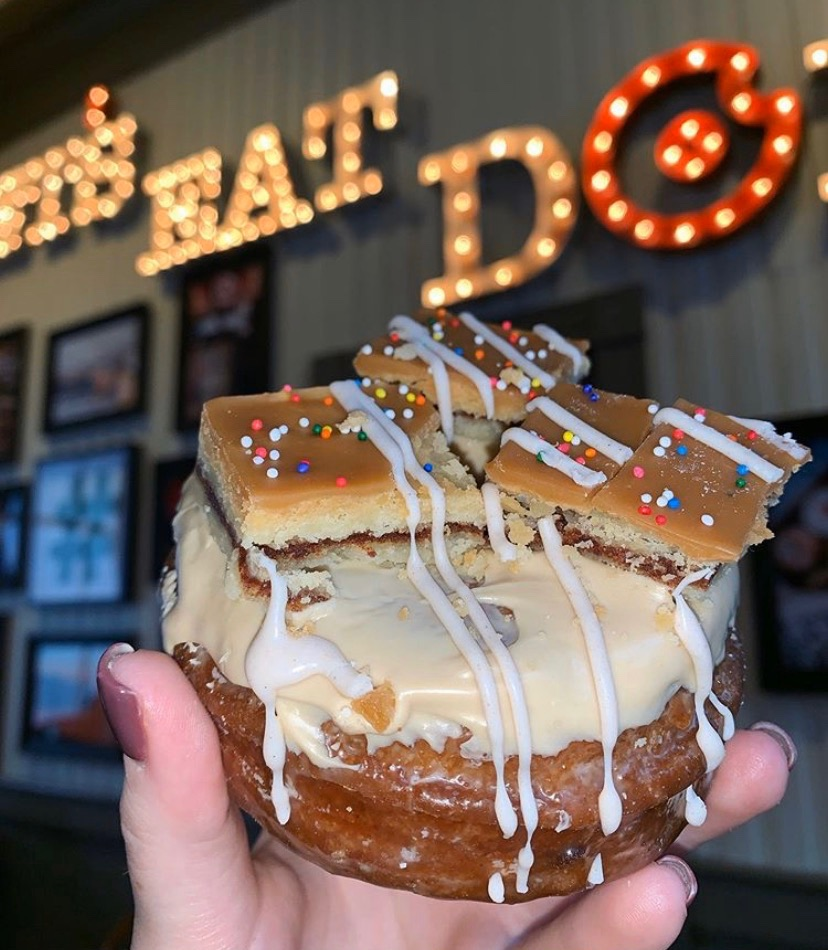 Alexa, play Crazy bu Pitbull | Apple cinnamon brown sugar donut topped with homemade pop tarts from Donut Crazy in Westport, CT