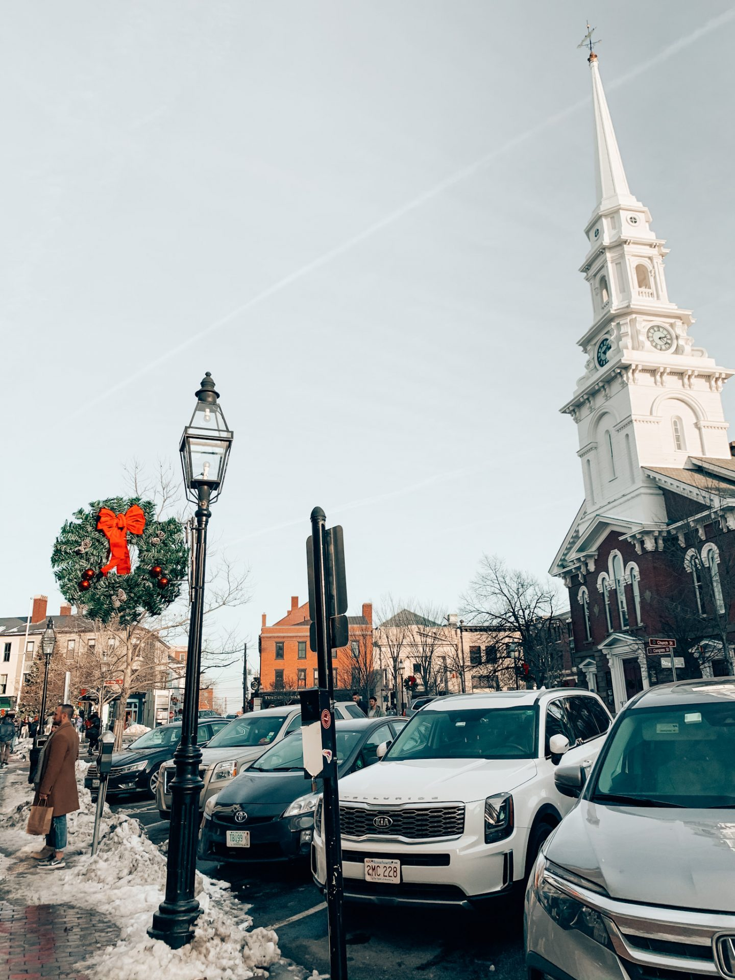 Portsmouth's North Church & Market Square during the holiday season