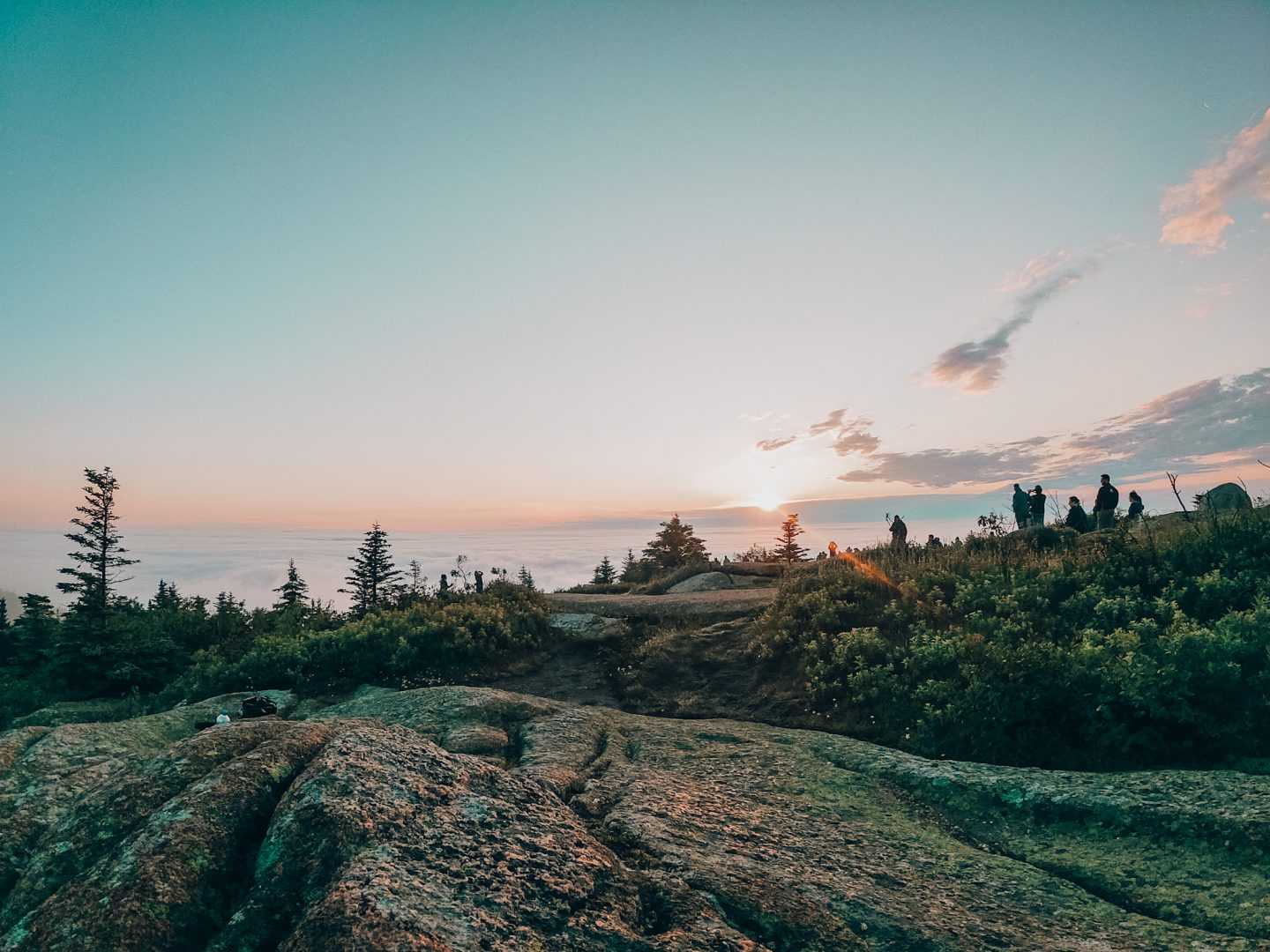 Sunrise from the top of Cadillac Mountain in Acadia National Park, Maine