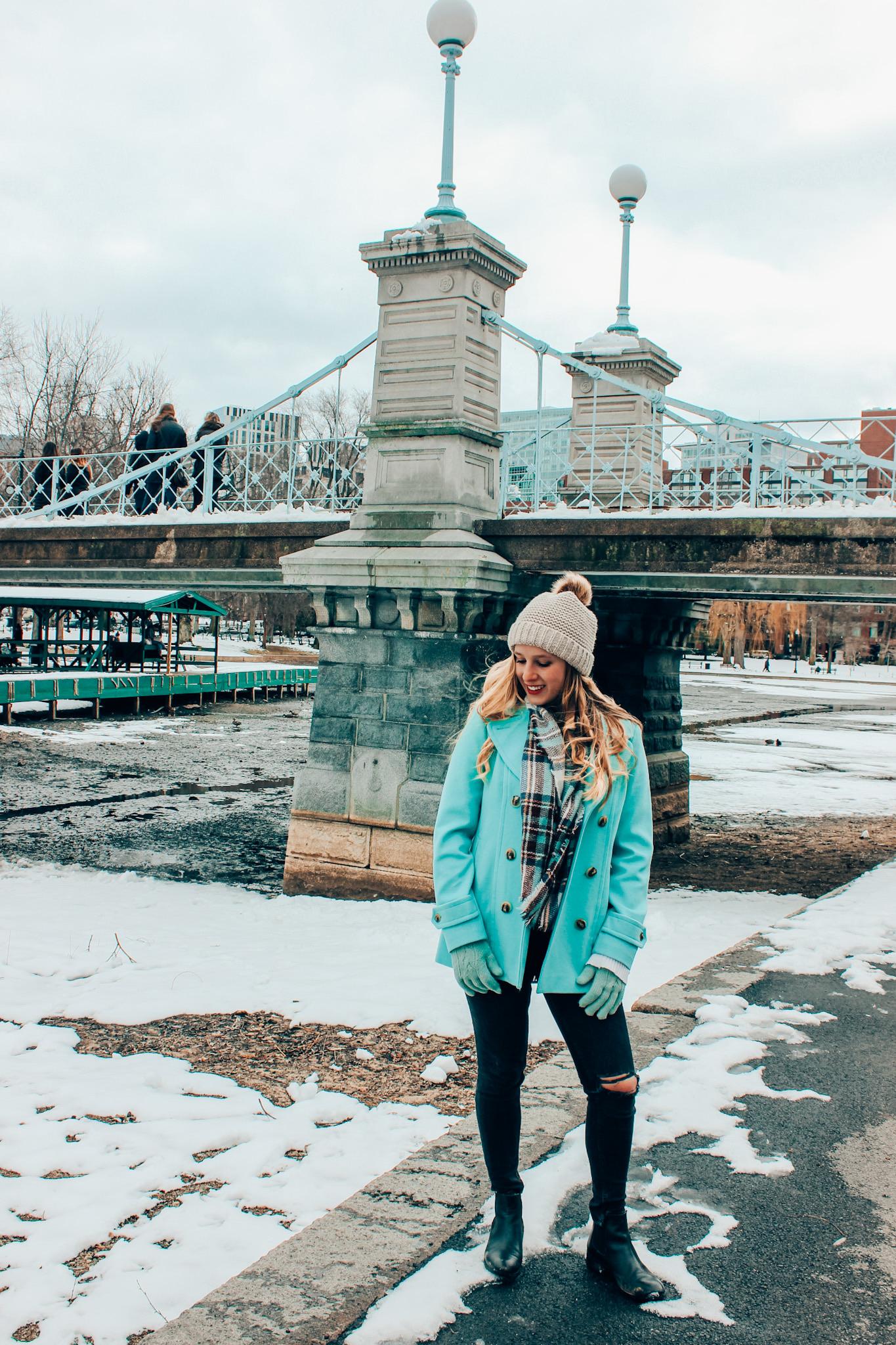 A snowy day in Boston's Public Garden