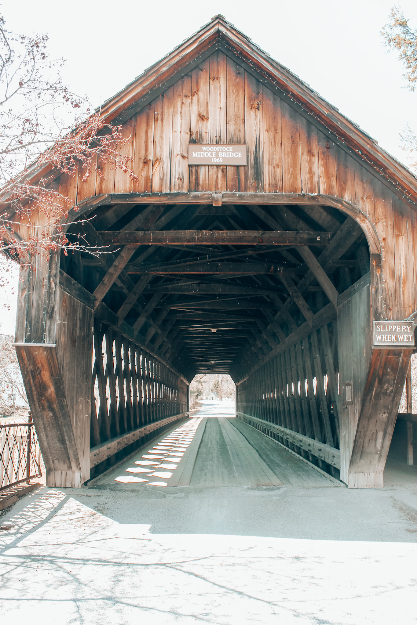 One of my favorite things about the holidays in New England...Woodstock's famous covered bridge