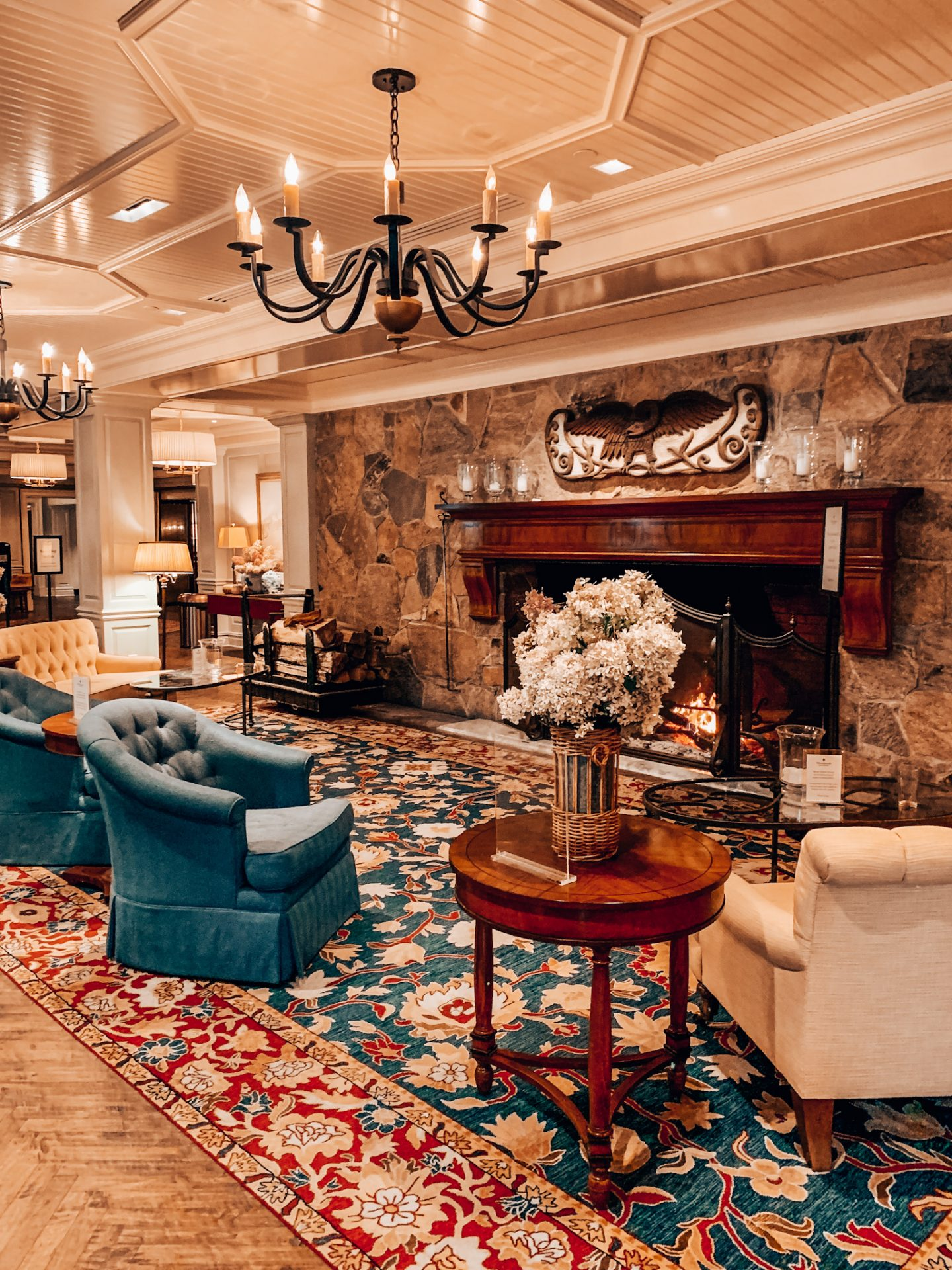 The lobby of the Woodstock Inn during the holidays in New England