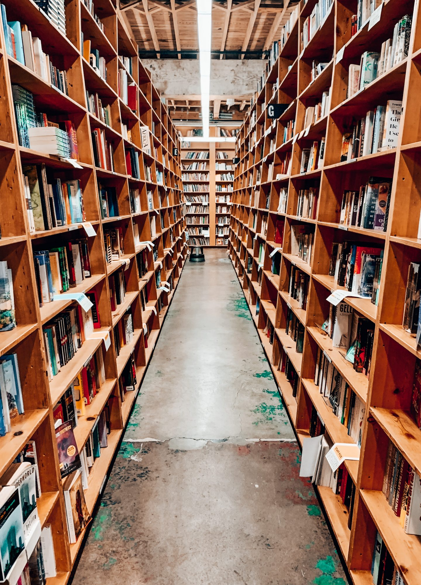 The famous book stacks in Powell's