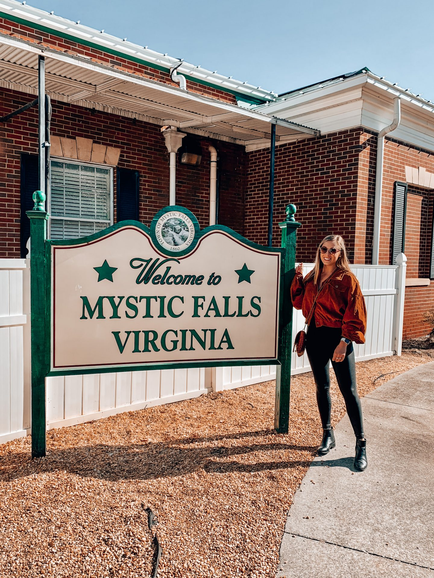 Mystic Falls sign at the Covington, Georgia Visitor's Center