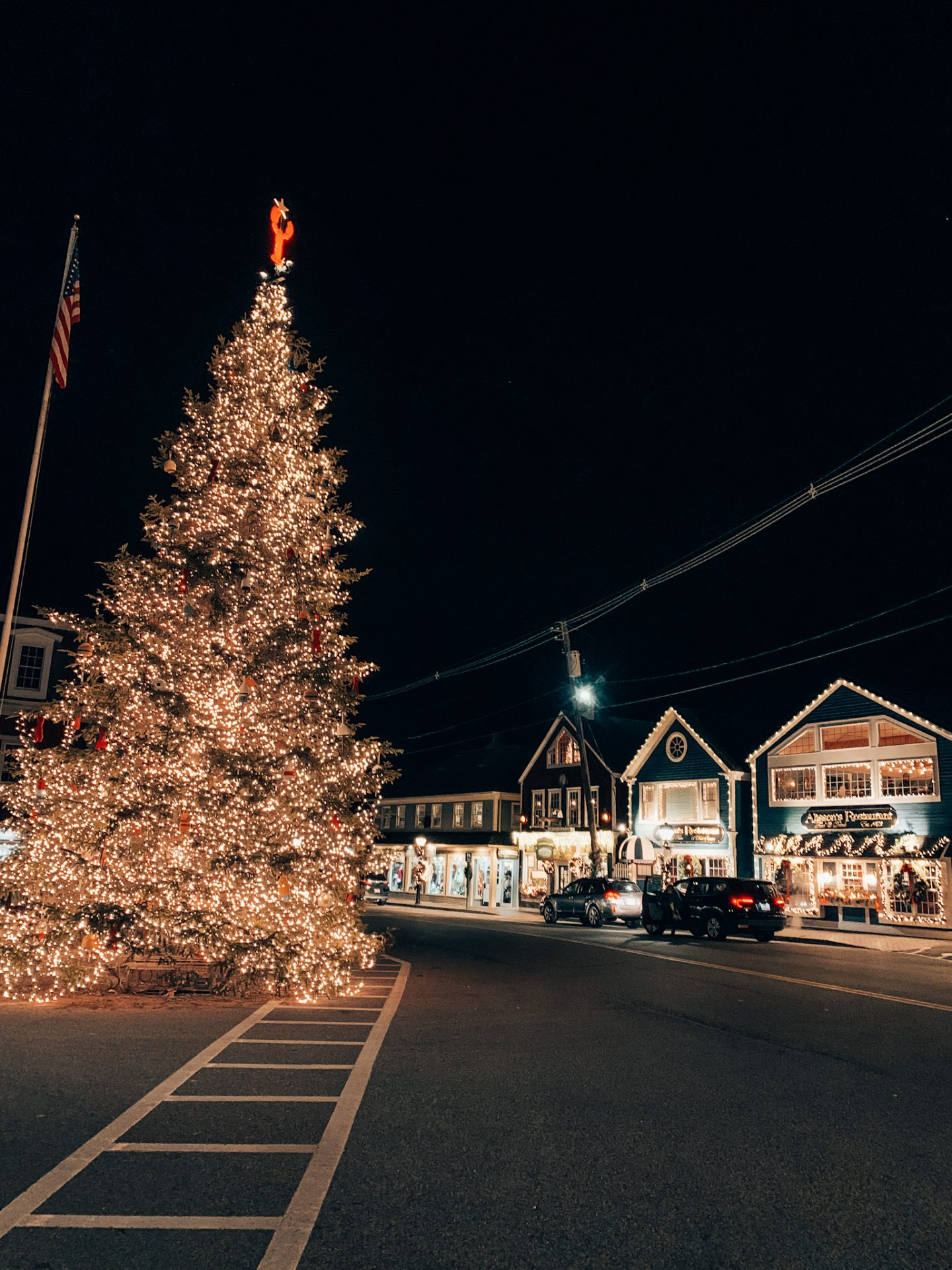 Downtown Kennebunkport decked out for the holidays in New England