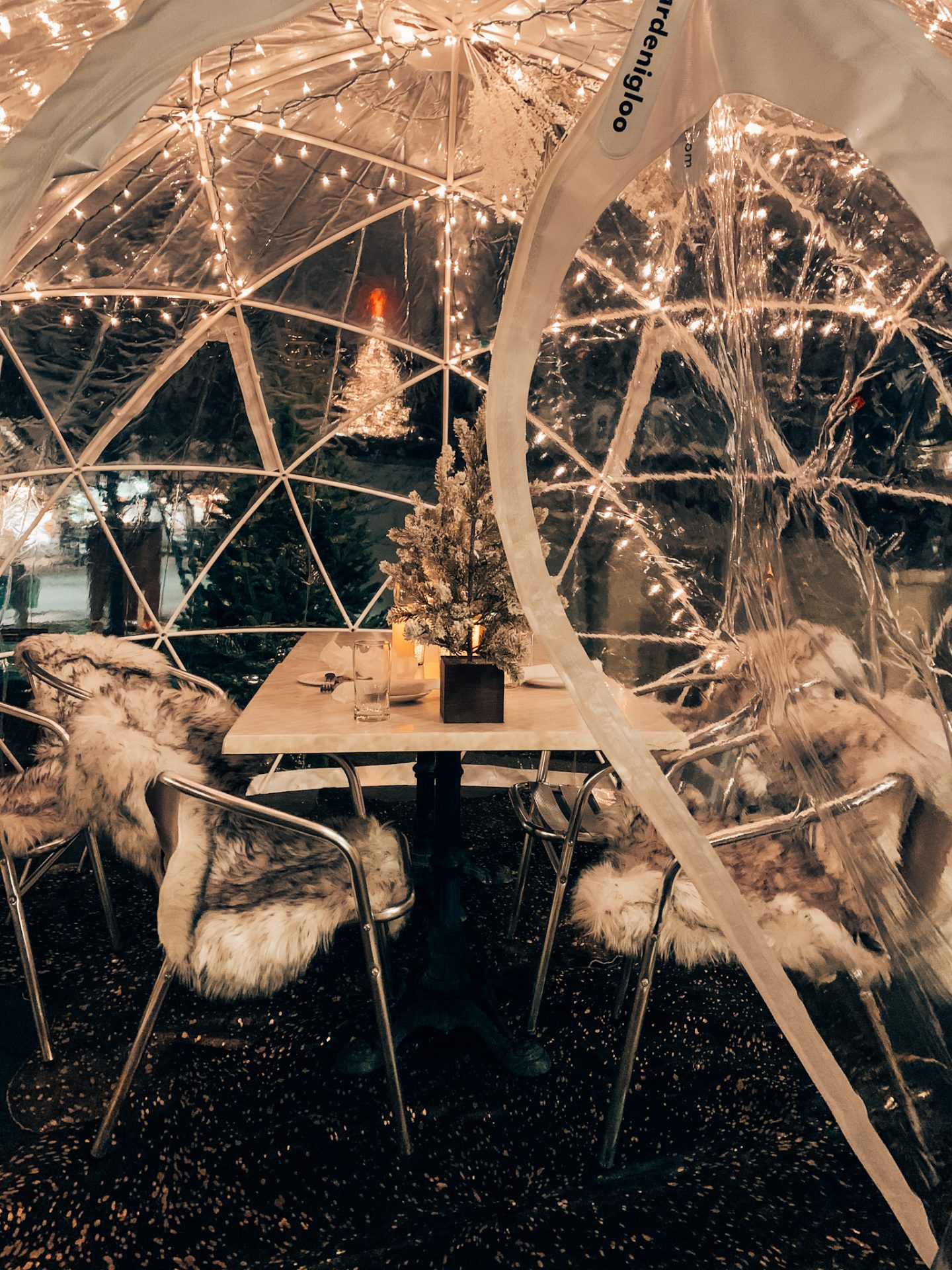 Igloo dining at the Kennebunkport Inn during the holidays in New England