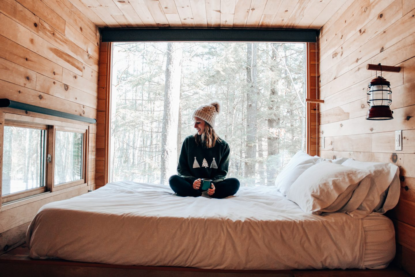 Dreamy wintery view out window from bed of Getaway House