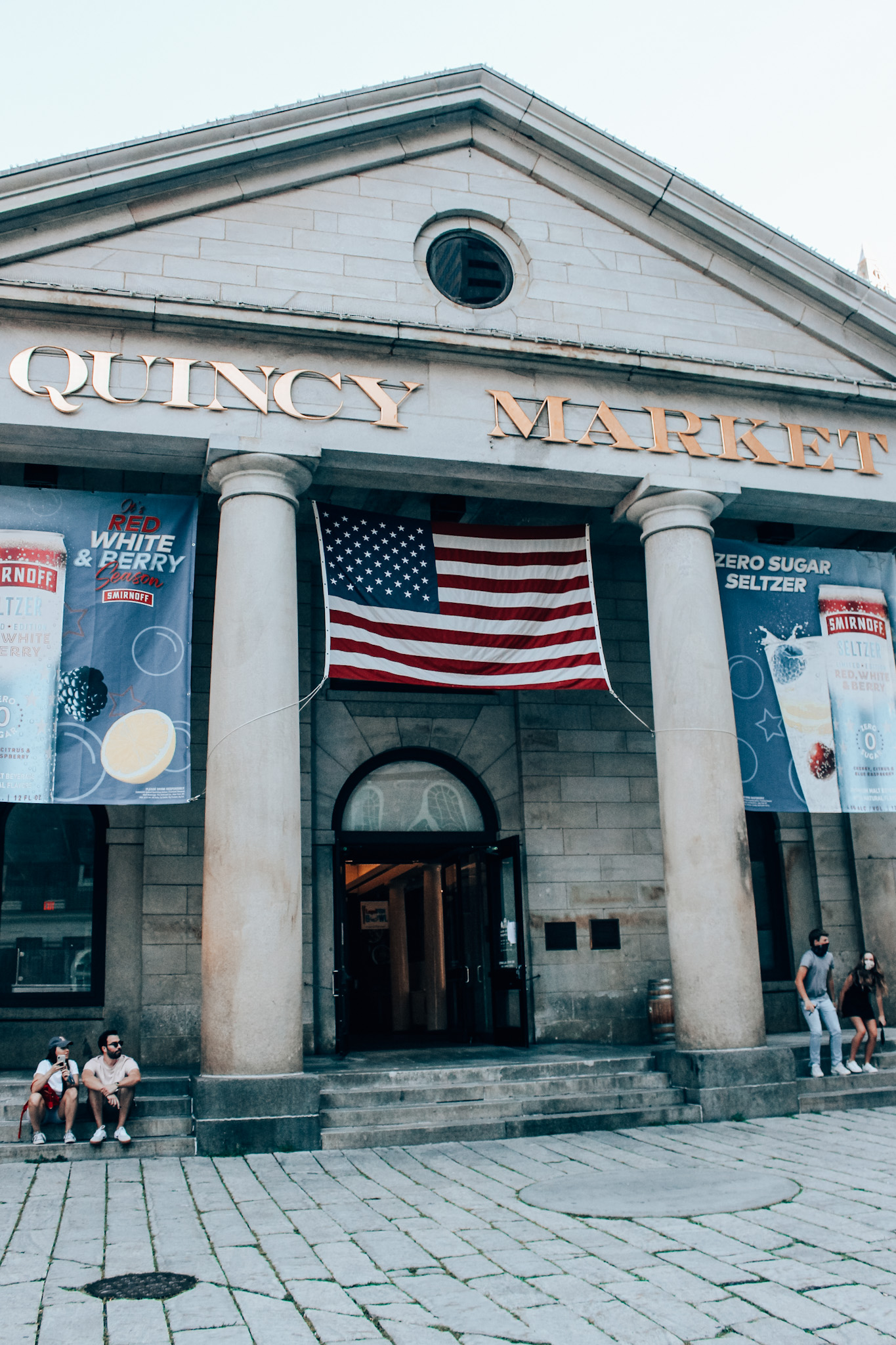 Front of Quincy Market in Faneuil Hall in Boston, MA